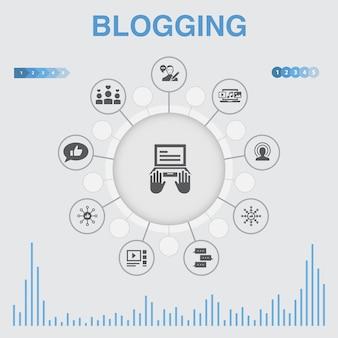 아이콘이 있는 블로깅 인포그래픽. 소셜 미디어, 댓글, blogger, 디지털 콘텐츠와 같은 아이콘이 포함되어 있습니다.