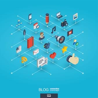ブログ統合3 d webアイコン。デジタルネットワーク等尺性概念。