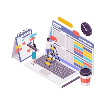 Blogging isometric concept with content plan making process 3d illustration