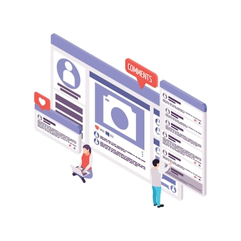 Изометрическая концепция ведения блога с людьми, читающими и оставляющими комментарии 3d иллюстрация