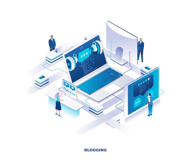 Blogging isometric concept