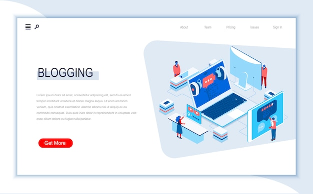 Blogging isometric landing page template.