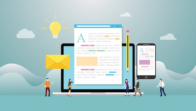 현대 평면 스타일의 팀 사람들과 노트북 컴퓨터 및 콘텐츠 개발과 블로그 또는 블로그 창조적 인 개념