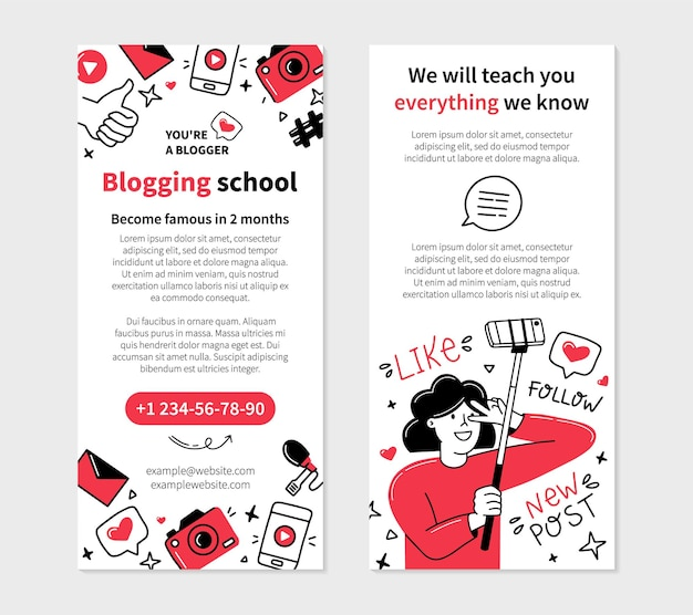 落書きスタイルのブログの学校のチラシテンプレート