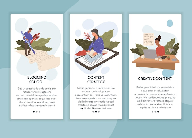 Blogging school and marketing strategy vector