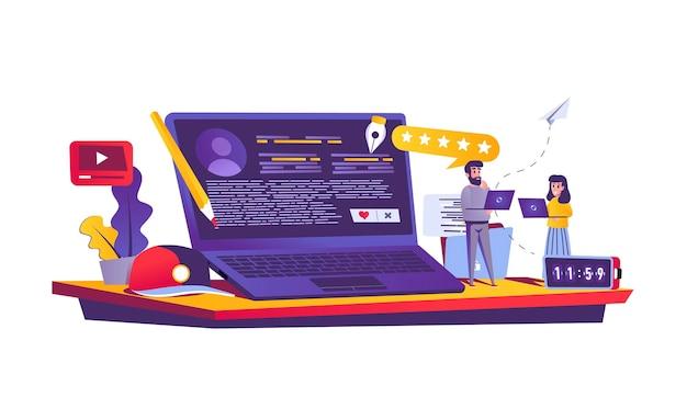 Blogging service web concept in cartoon style