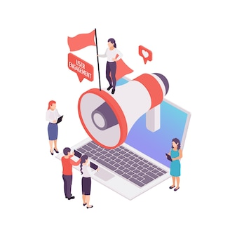 Blogging user engagement isometric concept with megaphone and people 3d illustration