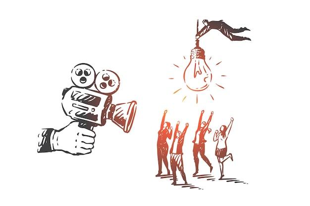 Блог, видеоблог, smm, работа в команде, коворкинг, эскиз концепции партнерства. деловые женщины, снимаемые кинокамерой, бизнесмен, летящий с лампой. рука нарисованные изолированные векторные иллюстрации
