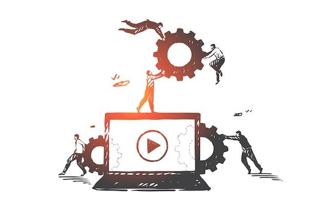 Блог, видеоблог, smm, работа в команде, коворкинг, эскиз концепции партнерства. бизнесмены несут шестерни к большому экрану ноутбука. рука нарисованные изолированные векторные иллюстрации