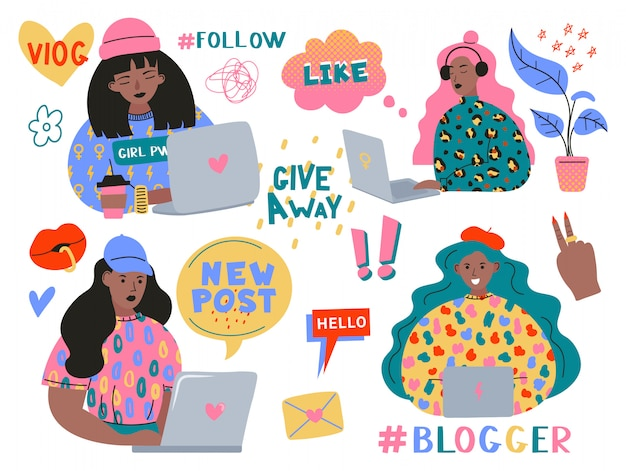 Blogging and vlogging set. cute funny girls or bloggers with laptop creating content and posting it on social media, blog or vlog. bundle of design elements isolated on white background.