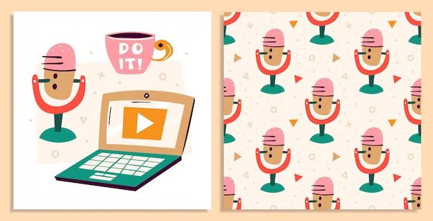 ブログ、vlogのセット。アイテムの撮影。マイク、ラップトップ、一杯のコーヒー、お茶。コミュニケーション、オンライン。フラットカラフルなシームレスパターンとイラストカードセット