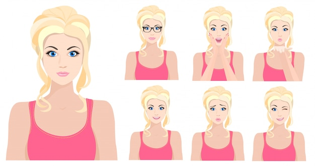 Blond girl with different facial emotions