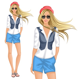 Blond hipster girl character