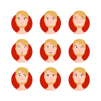 Blond man illustration set. yellow haired young male, boy in cartoon style with different facial expressions and emotions. character vector illustration.