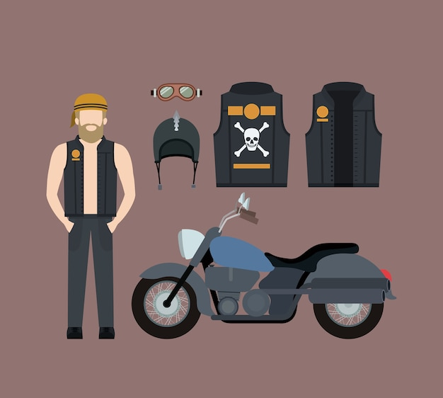 Blond motorcyclist and classic blue motorcycle set