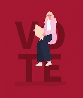 Белокурая женщина мультфильм с доской на красном фоне дизайн, голосование в день выборов