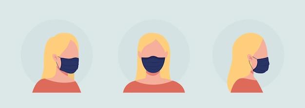 마스크 세트가 있는 금발 여성 세미 플랫 컬러 벡터 캐릭터 아바타. 전면 및 측면 보기에서 인공 호흡기와 초상화입니다. 그래픽 디자인 및 애니메이션 팩을 위한 격리된 현대 만화 스타일 그림