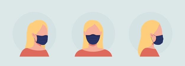 Blond woman semi flat color vector character avatar with mask set. portrait with respirator from front and side view. isolated modern cartoon style illustration for graphic design and animation pack