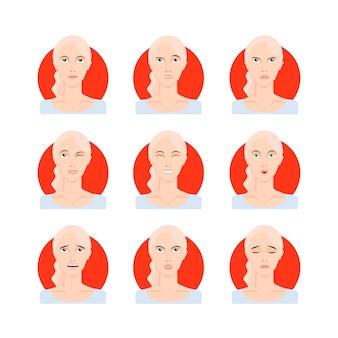 ブロンドの女性は、ベクトルイラストを設定します。漫画のスタイル、肖像画、さまざまな表情、感情を持つ顔の若い黄色い髪の少女女性。簡単に変更できます。キャラクターコレクションデザイン。