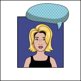 Blond woman with speech bubble pop art style