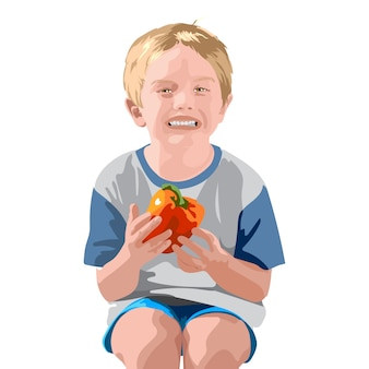 Blonde boy in blue shorts and t-shirt, smiling and holding a bell pepper