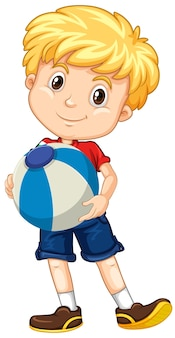 Blonde boy holding color ball