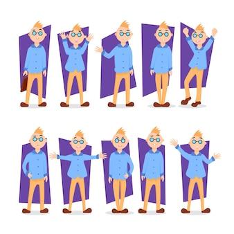 Белокурый мальчик установил иллюстрацию. мальчик в мультяшном стиле, представляя разные позы, с различными выражениями лица, эмоциями, действиями, в очках. носить синюю рубашку и коричневые брюки. дизайн персонажа.