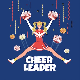 Blonde cheerleader posing with pom-poms and jump  premium