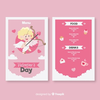 Blonde cupid valentine menu template