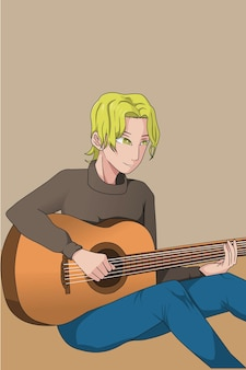 Blonde curly hair man play guitar hand drawing