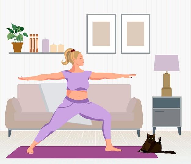 自宅でヨガを練習している金髪の女性フラットベクトルイラスト