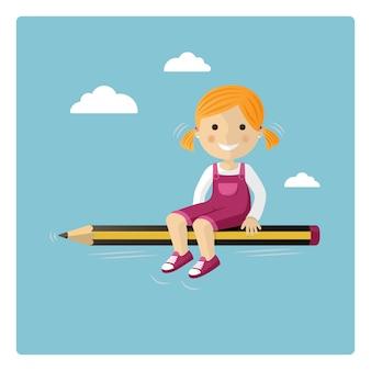 空を通って鉛筆で飛ぶブロンドの女の子