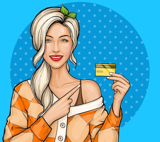 Blonde girl holding plastic credit card in hand in pop art style