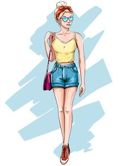 유행 옷에 금발 소녀