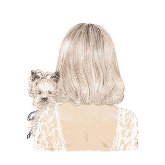 彼女の犬のヨーキー、手描きのイラストとブロンドの女の子。