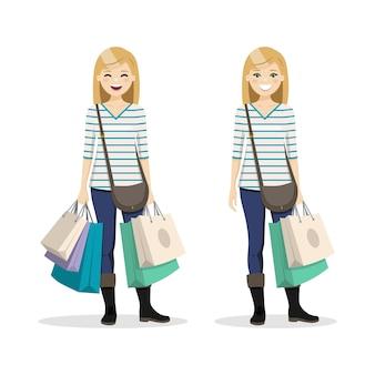 Женщина со светлыми волосами с хозяйственными сумками в двух разных положениях