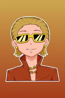 金髪の金持ちの漫画イラスト