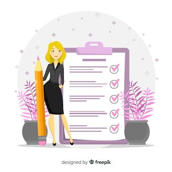 Blonde woman checking giant check list background
