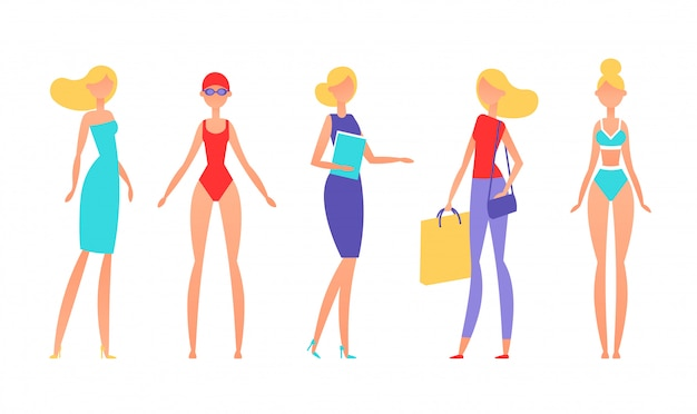 Blonde woman in different styles of clothes, with different hairstyles and poses.