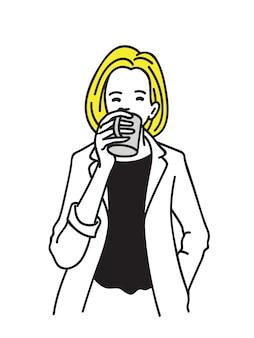 Blonde woman drinking coffee