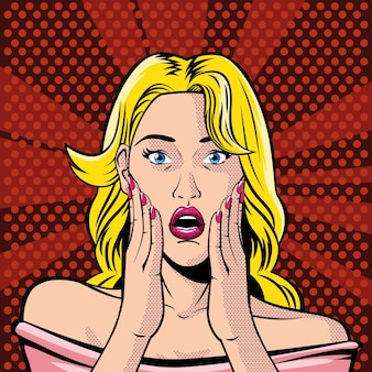 Blonde woman face with open mouth, surprised, style pop art illustration design