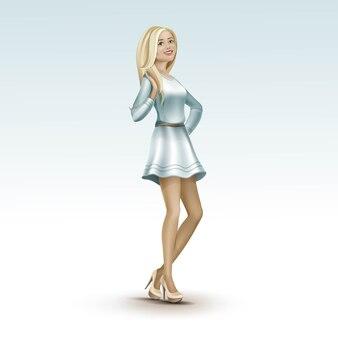 Блондинка девушка в платье на каблуках с длинными волосами