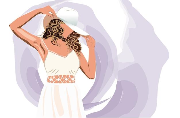 Блондинка в белом платье, устраивая ее шляпу от солнца, абстрактный фон фиолетовый штрихов