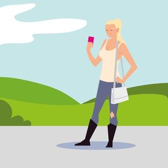 거리 그림에서 스마트 폰을 사용하는 금발의 여자