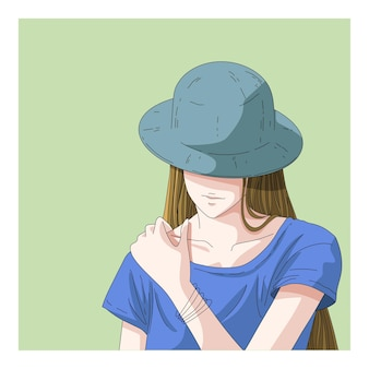 帽子のイラストを身に着けているブロンドの女性