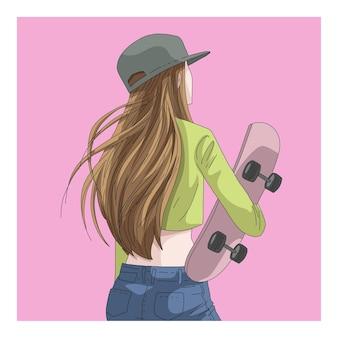 スケートボードのイラストとブロンドの女性