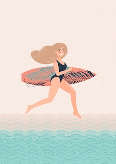 Blonde woman with a surf runs illustration