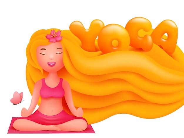 マットの上のピンクのスポーツコスチューム立地で金髪の若い女性。横型ヨガスタジオ
