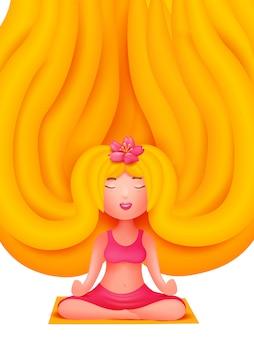 マットの上のピンクのスポーツコスチューム立地で金髪の若い女性。ヨガスタジオ