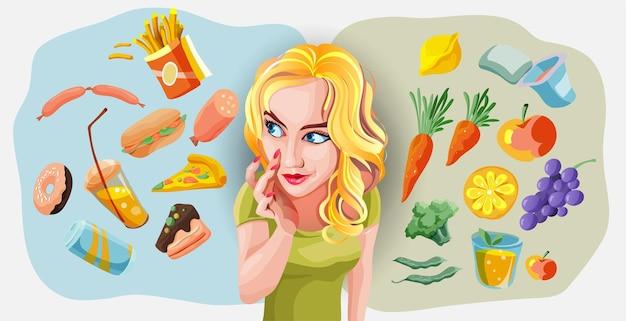 건강하고 건강에 해로운 음식 개념 벡터 삽화 사이에서 선택하는 블론디 여성. 패스트 푸드 대 균형 메뉴 비교 격리 된 클립 아트. 여성 만화 캐릭터 다이어트와 건강한 식생활.